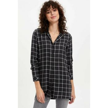 Women's Black Pattern Long Shirt M3107AZ.19WN.BK27