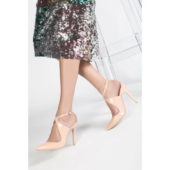 Salmon Patent Leather Women's Heels Shoes 12612