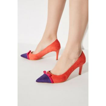 Orange Suede Women Heels Shoes TAKAW20TO0043