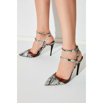 Black Transparent Detailed Snake Pattern Women Heels Shoes TAKAW20TO0016