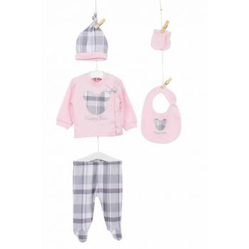 Gray Pink Baby Boy Hospital Outlet 5'Li Layette Set AZZ005227
