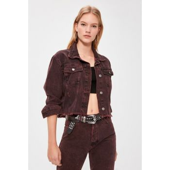 Plum Washed Crop Denim Jacket TWOAW20CE0243