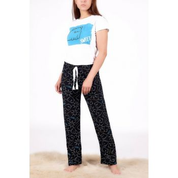 Women's White-Turquoise Patterned Pajama Set PJM10777 - H13 ADX-00012826