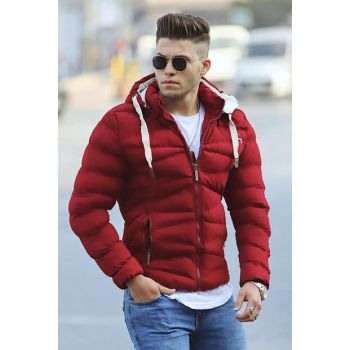 Burgundy Hooded Inflatable Coat M-61