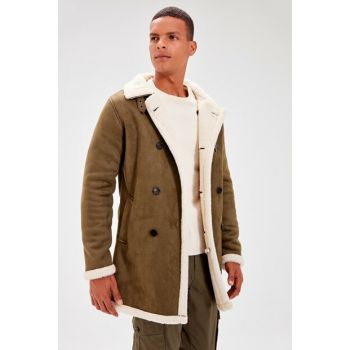 Khaki Male Sherpa Laminated Coat with Button and Front Button TMNAW20KB0143