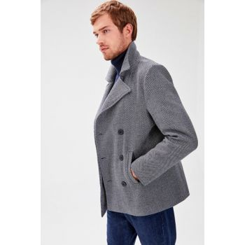 Navy Blue Male Diagonal Pattern Double Breasted Coat TMNAW20KB0006