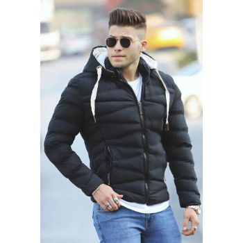 Black Hooded Inflatable Coat M-61