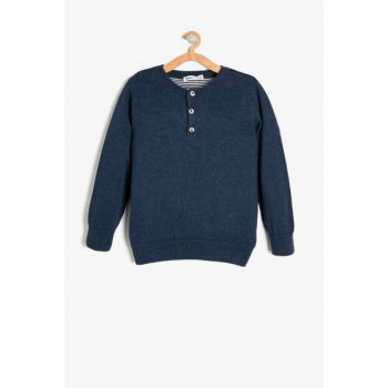 Blue Boy Button Detailed Sweater 9KKB96332OT