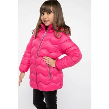 Pink Hooded Zipper Parka I9822A6.18WN.PN219
