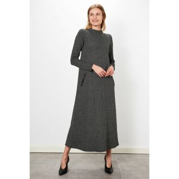 Women's Black Jacquard Dress 9WL064Z8