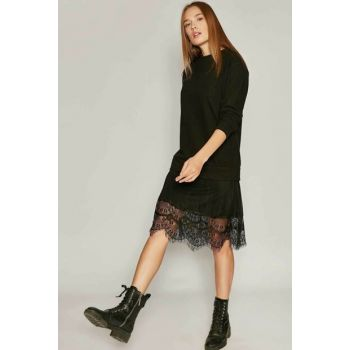Women's Black Thessaloniki Fabric Lace Skirt Detailed Dress Y19W108-23323