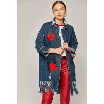 Women's Denim Ripped Embroidered Long Jeans Jacket 20003 Y19W115-20003