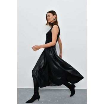 Women's Black Asymmetrical Leather Skirt LV105