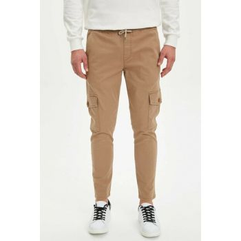 Men's Beige Slim Fit Cargo Pants M9379AZ.19AU.BG117