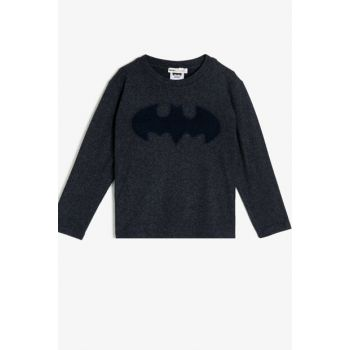 Batman Licensed Embroidered Long Sleeve T-Shirt 9YKB16756TK