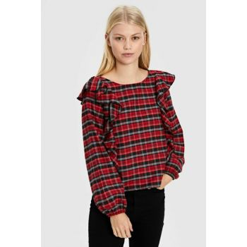 Women's Red Plaid Blouse 9WR362Z8