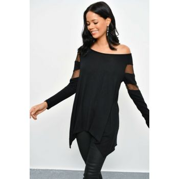 Women's Black Tulle Detailed Tunic SF11021