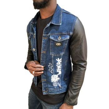 Men's Blue Denim Jacket Printed Model Slim Fit RPBLC3253