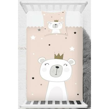 Pink White Teddy Bear Scandinavian Children Baby Bed Cover 140x220cm