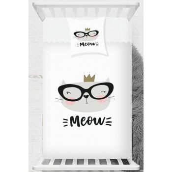 Gray White Cat Scandinavian Children Baby Bed Cover 140x170cm