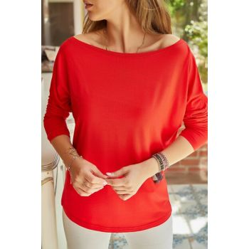 Women's Red Kayak Collar Viscose Blouse 9YXK2-41637-04