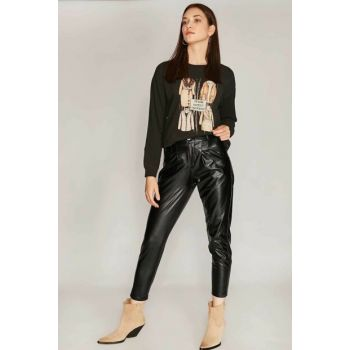Women's Black Pleated Patent Leather Leather Rider Pants 420 Y19W102-4209