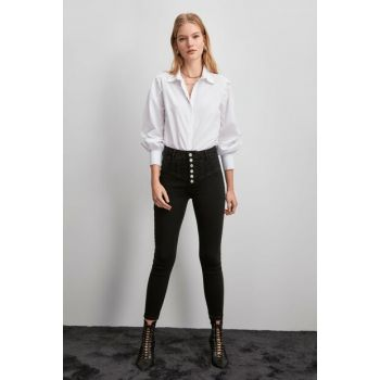 Black Stitched Detailed Buttoned Super High Waist Skinny Jeans TWOAW20JE0342