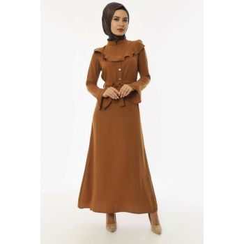 Women's Dark Mustard Buttoned Belted Neckline Crepe Dress 3493