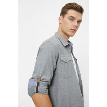 Men's Gray Pocket Detailed Shirt 0KAM61057NW