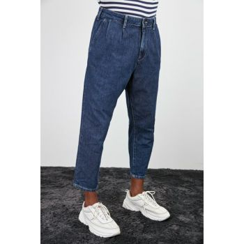 Navy Blue Men's Pleated Tapared Jeans TMNAW20JE0360