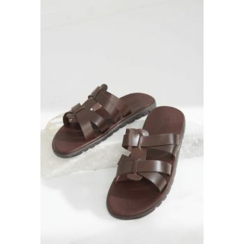 Genuine Leather Coffee Men Slippers 02TEH119730A480