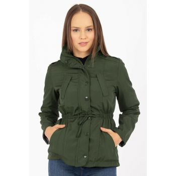 Women's Khaki Green Sides Elastic Snap Jacket 21-352