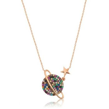 Colorful; Stony Planet Necklace Rose Gold Plated 925 Sterling Silver Women Necklace UVPS100182