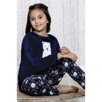 Girl's Navy Blue Polar Bear 2-Piece Pajamas Set LB3020