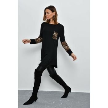 Women Black Leopard Detailed Tunic LV107