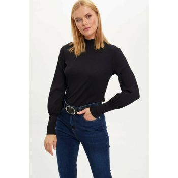 Women's Black Slim Fit Long Sleeve T-shirt N1169AZ.19WN.BK27
