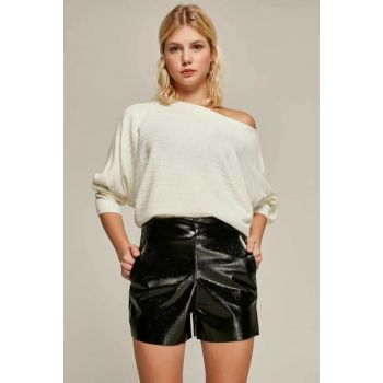 Women Black Patent Leather Shorts Y19W108-20882