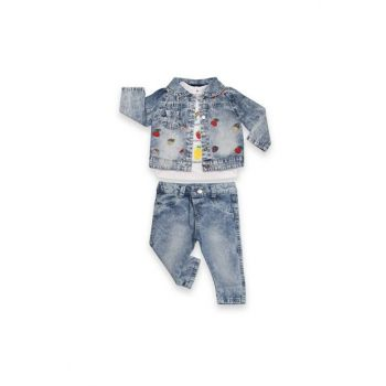 Fruit Embroidered Jeans Girl Set VIP5830