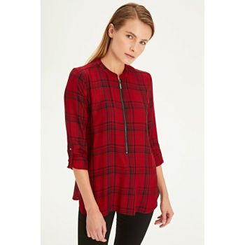 Women's Red Plaid Blouse 9WG863Z8