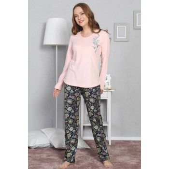 Women's Pink Long Sleeve Pajama Set 8030398414 Y19W137-8030398414