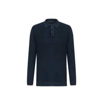 Men's Navy Blue Polo Neck Cotton Pullover 338073