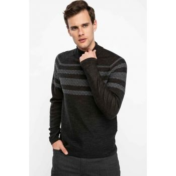Men's Anthracite Half Turtleneck Slim Fit Sweater Pullover K4283AZ.18WN.AR102