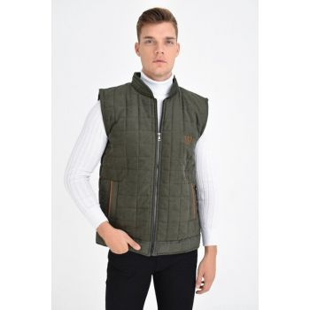 Men's Khaki Zippered Quilted Artificial Suede Vest 4380