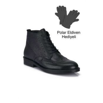 Genuine Leather Black Men Boots DPRMGMHSN024