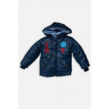 Navy Blue Emoji Children's Coat DL-1018