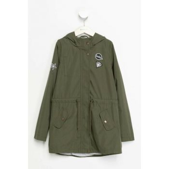 Green Girl Kid Patch Detailed Shirred Parka I9981A6.18AU.GN49