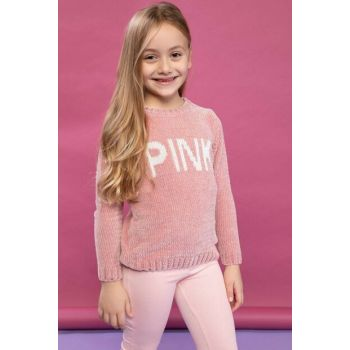 Burgundy Young Girl Jacquard Font Printed Knitwear Sweater J0618A6.18WN.BR80
