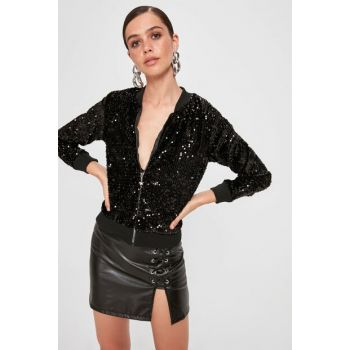 Black Sequin Bumber Jacket TPRAW20CE0358