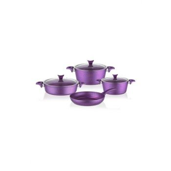 3456 Master Cook 7 Pieces Granite Cookware Set Purple 2019ST000390