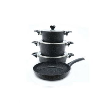 3455 Master Cook 7 Pieces Granite Cookware Set Black 2019ST000389